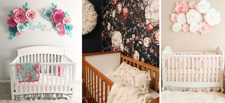 استفاده از گل برای تزئین دیوار اتاق نوزاد