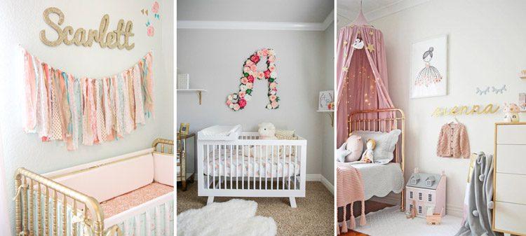 استفاده از اسم یا اول اسم نوزاد بر روی دیوار تزیین آن را زیباتر می کند