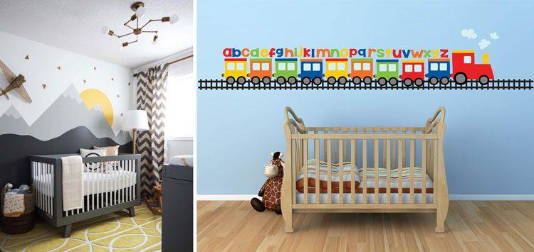 استفاده از استیکر و تغییر رنگ دیوار در تزیین دیوار کنار تخت کودک موثر است