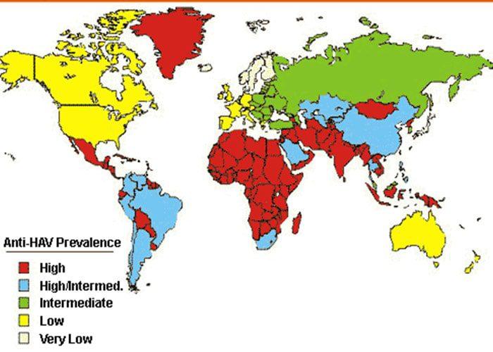 توزیع هپاتیت A در جهان