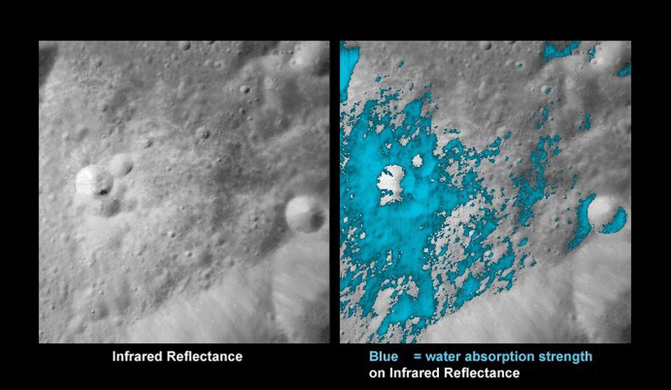 دهانهی جوانی در سمت تاریک ماه از نمای ابزار نقشهبردار کانیشناسی ماه (M3)