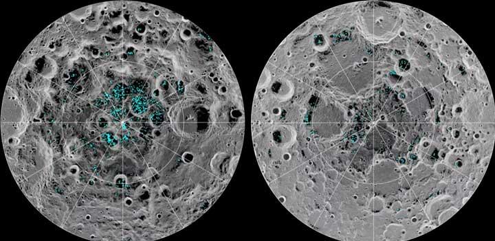 پراکندگی آب یخ در ماه