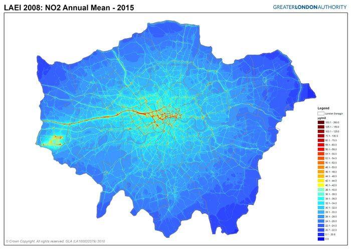نقشه تجمع نیتروژن دی اکسید لندن ۲۰۱۵