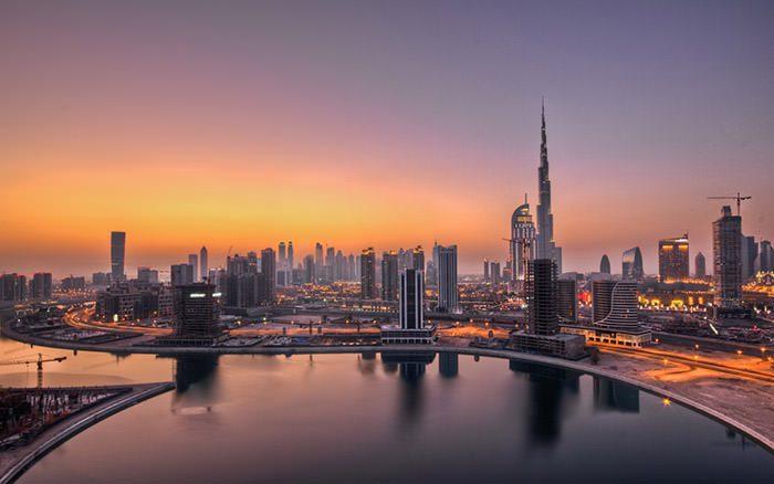 غروب خورشید در دوبی