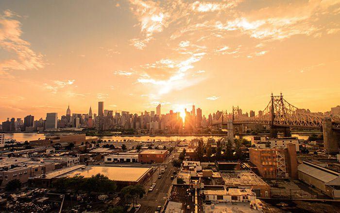 غروب خورشید در نیویورک