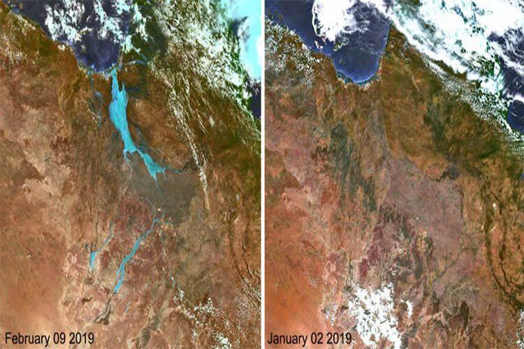 تصاویر ماهوارهای از سیل در شمالغربی کوئینزلند