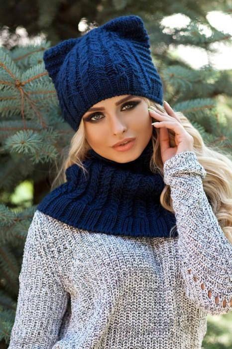 کلاه وشال آبی زنانه