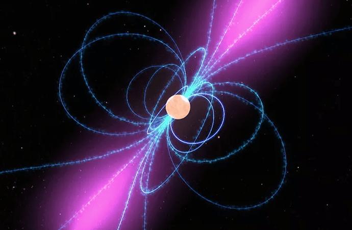 تصور هنرمند از خطوط میدان مغناطیسی اطراف یک پالسار. درخشش بنفش نشاندهنده پرتوهای گاما است. محور چرخش پالسار همتراز با میدان مغناطیسی آن نیست.
